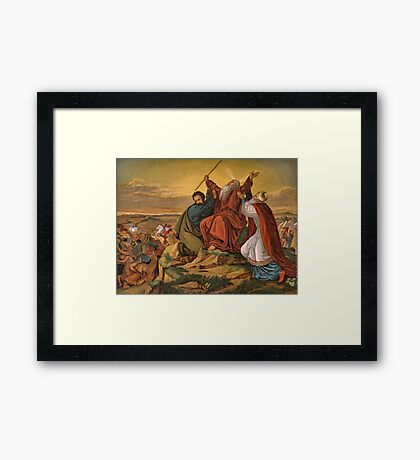 Aaron and Hur staying Moses' hands. Framed Print