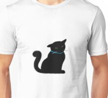 Black Cat with a Blue Ribbon Unisex T-Shirt