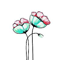 Beautiful Pink & Teal Watercolor Painted Flowers Photographic Print