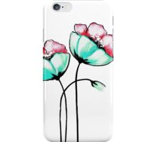 Beautiful Pink & Teal Watercolor Painted Flowers iPhone Case/Skin