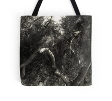 Study in Light and Shadow: Lush Foliage and Tangled Branches in Black and White #1 Tote Bag