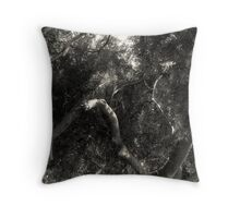 Study in Light and Shadow: Lush Foliage and Tangled Branches in Black and White #1 Throw Pillow