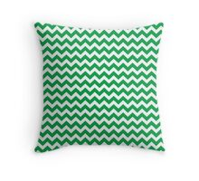 green chevrons Throw Pillow