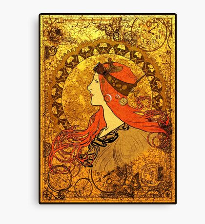Steampunk Zodiac (Mucha Homage) Canvas Print