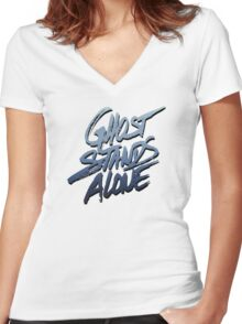 Ghost stands alone Women's Fitted V-Neck T-Shirt
