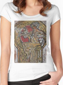 A MUCHA POSTER Women's Fitted Scoop T-Shirt