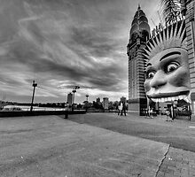 Icon (Monochrome) -  Luna Park , Sydney - The HDR Experience by Philip Johnson