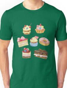 Watercolor sweet cakes, pie, donut Unisex T-Shirt