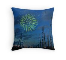 Green Boom Throw Pillow