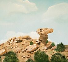 Camel Rock New Mexico USA  ~ Oil Painting ~ Summer by Barbara Applegate