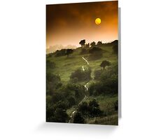 Full Moon Landscape at Sunset Greeting Card
