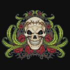 Skull with Roses and Crown of Thorns by Al Rio by alrioart