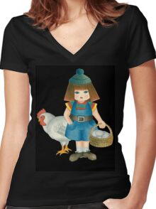 doll and chicken Women's Fitted V-Neck T-Shirt
