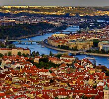 Prague Old Town with Vltava River by Karel Kuran