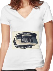Talking About the Past, Abstract Phone Women's Fitted V-Neck T-Shirt