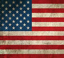 Old and Worn Distressed Vintage Flag of The United States by Jeff Bartels