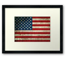 Old and Worn Distressed Vintage Flag of The United States Framed Print