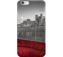 Tower Of London Poppies (Red on Black & White) iPhone Case/Skin