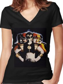 Mighty Morphin Power Rangers 2 Women's Fitted V-Neck T-Shirt