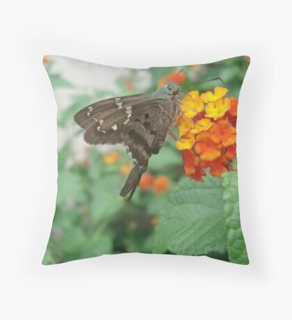 Long-tailed Blue Skipper in Red Lantana Throw Pillow