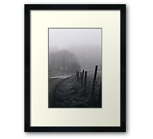 Tree, Road and Fence from Misty Morning Framed Print