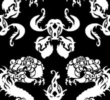 DRAGON PATTERN BLACK AND WHITE by veggiemuse