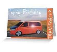 Orange T5 Happy Birthday Campervan Greeting Card