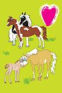 Painted ponies Poster & Card by Diana-Lee Saville