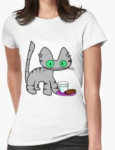 Kitty With Milk And Cookies Womens Fitted T-Shirt