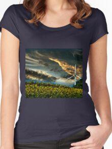 Sunfllower field II Women's Fitted Scoop T-Shirt