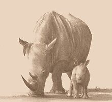 Mother and Baby White Rhino by Tom Godfrey