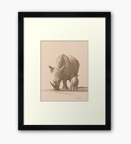 Mother and Baby White Rhino Framed Print