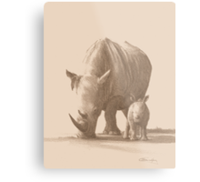 Mother and Baby White Rhino Metal Print