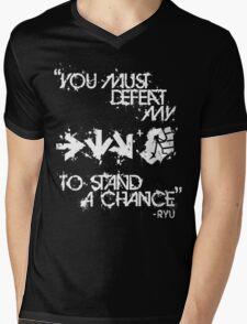 Ryu Win Quote White Mens V-Neck T-Shirt