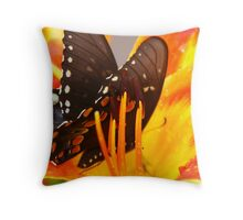 BlackButterfly On Orange2 Throw Pillow