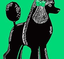Black Standard Poodle with Green Bow by AbigailDavidson