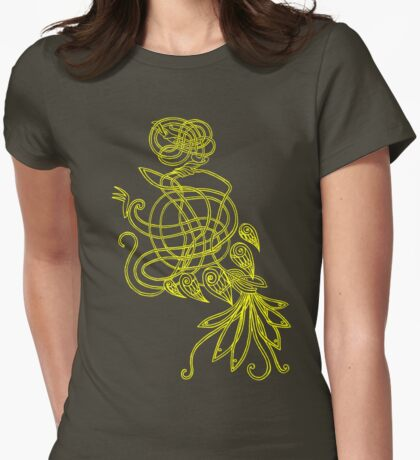 Gold Ancient Bird Womens Fitted T-Shirt