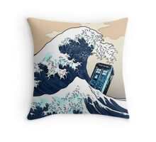 Space And Time traveller Box Vs The great wave Throw Pillow