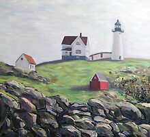 Nubble Light House, Maine with Rocks by Richard Nowak