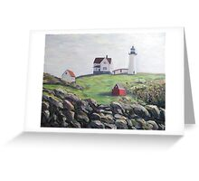 Nubble Light House, Maine with Rocks Greeting Card