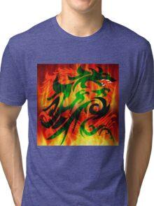 DRAGON IN FLAME Tri-blend T-Shirt