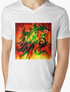DRAGON IN FLAME Mens V-Neck T-Shirt