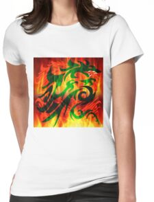 DRAGON IN FLAME Womens Fitted T-Shirt