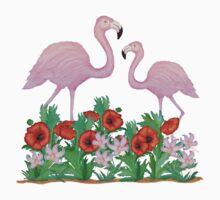 Flamingos and Flowers Kids Tee