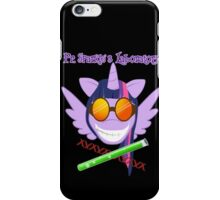 Pr. Sparkle's Laboratory - with text, black BG iPhone Case/Skin
