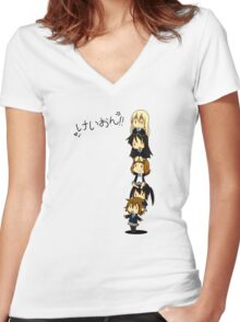 K-on Totem Pole Women's Fitted V-Neck T-Shirt