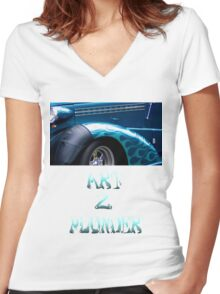 Classics 2-Teal Women's Fitted V-Neck T-Shirt