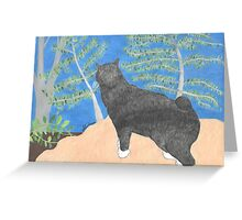 Annie The Cat Drawing by Julia Hanna Greeting Card