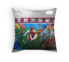 """MURAL """"TEMPOAL HISTORY AND TRADITION"""" Throw Pillow"""