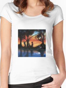Rotating ART! two pics in one! fishing and gathering/Dali Women's Fitted Scoop T-Shirt